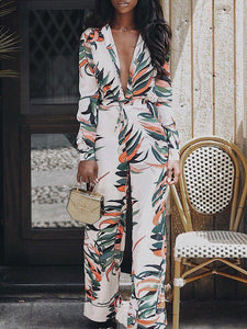 Fashion Autumn Deep V-Neck Print Jumpsuit