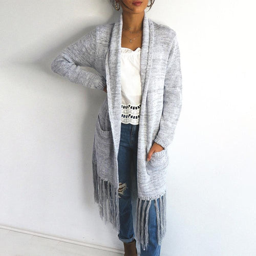 Four-Color Cardigan Slit Long-Sleeved Loose Fringed Knit Outwear