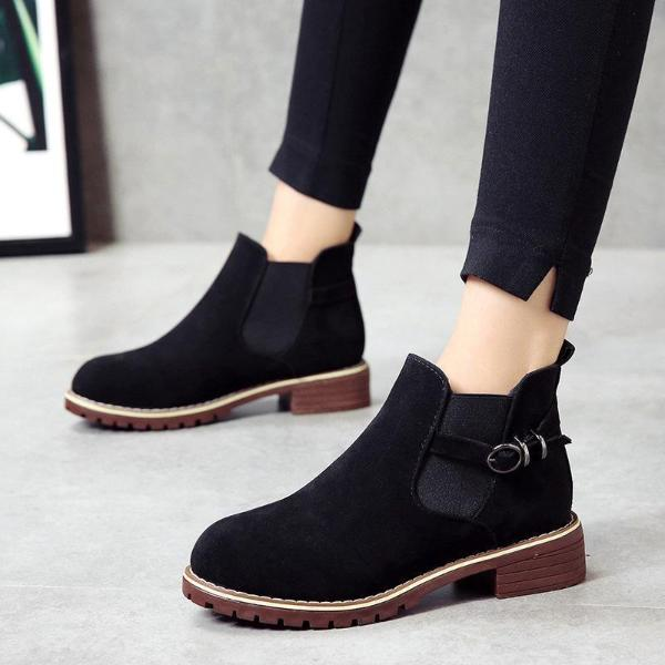 Fashion Belt Buckle Suede Short Boot