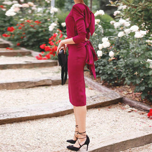 Vintage Round Neck Midi Dress With Bowknot