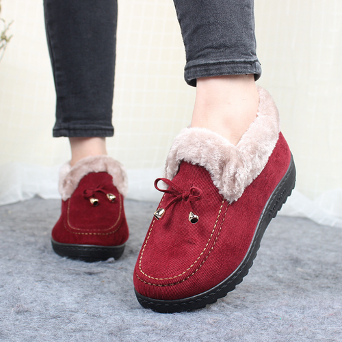 Women Plain Middle-Aged Velvet Warm Flat Boots