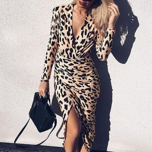 Elegant V-Neck Leopard Print Long-Sleeved Wrap Bodycon Dresses