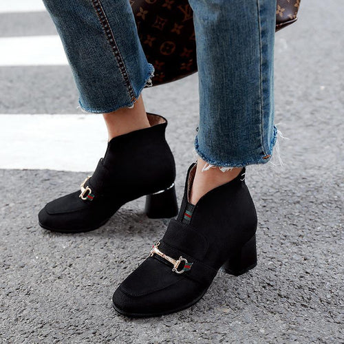 Comfortable Square Heel With Low Tube Martin Boots