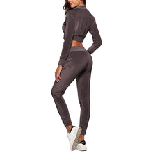 Pure Colour Navel Exposed Sport Suit