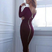 Round Neck Zip-Up Bodycon