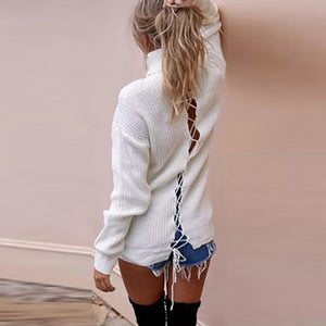 Casual High-Necked Lace-Up Sweater