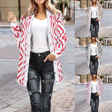 Knitted Cardigan Women Loose Long Sleeve Coat Patchwork Sweater