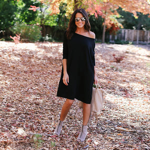 Basic Round Neck Long Sleeve Shift Dress