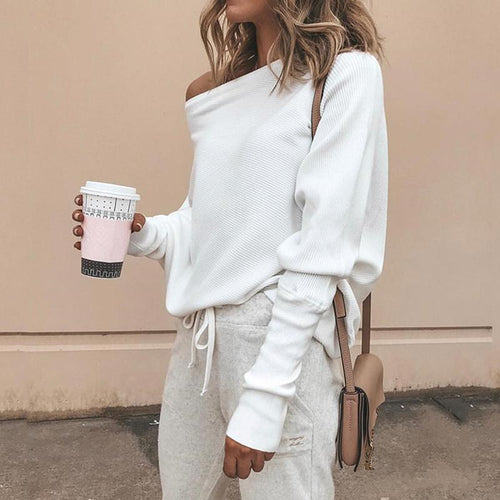 Stylish Bat-Sleeve Ribbed Baggy Sweater