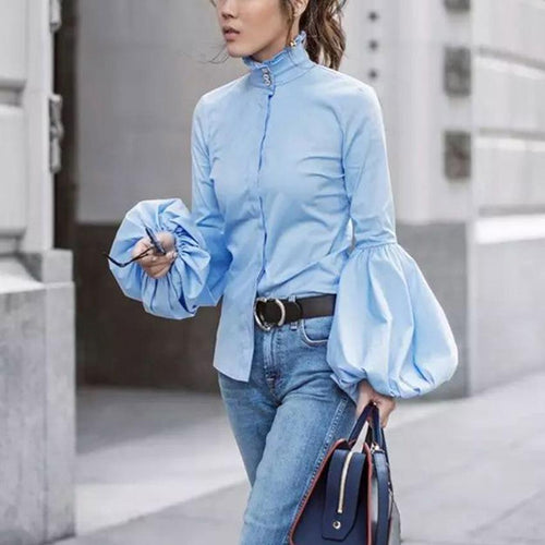 Fashionable Pure Color   Lantern Sleeve High Collar Trim Shirt
