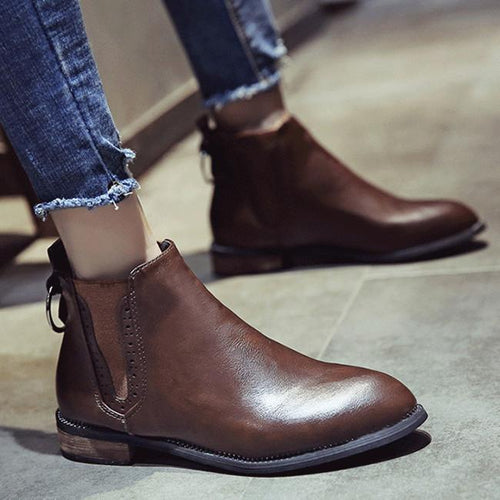 2018 New Flat-Heel Short-Tube Chelsea Boots