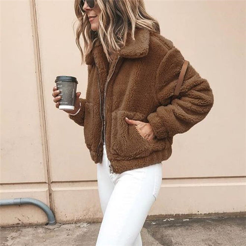 Casual Chic Woolen Thermal Plain Long Sleeve Cardigan