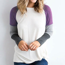Autumn Round Neck Stitch Long Sleeve T-Shirt Top