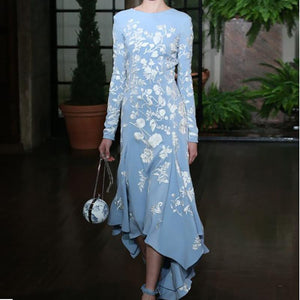 Fashion Round Neck Floral Pattern Printed Irregular Evening Dress