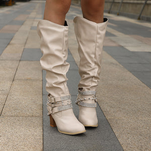 Autumn And   Winter Fashion Thick With Round Head Water Drill Boots