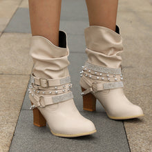Fashion High   Heels Buckle Women's Shoes Round Head High Boots