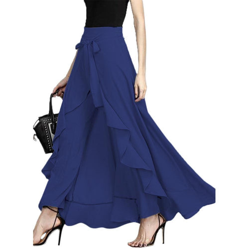 Casual Pure Colour Irregular Ruffled Splicing Pantskirt