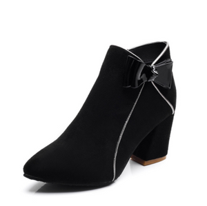 Fashion Bow Thick Ankle Boots