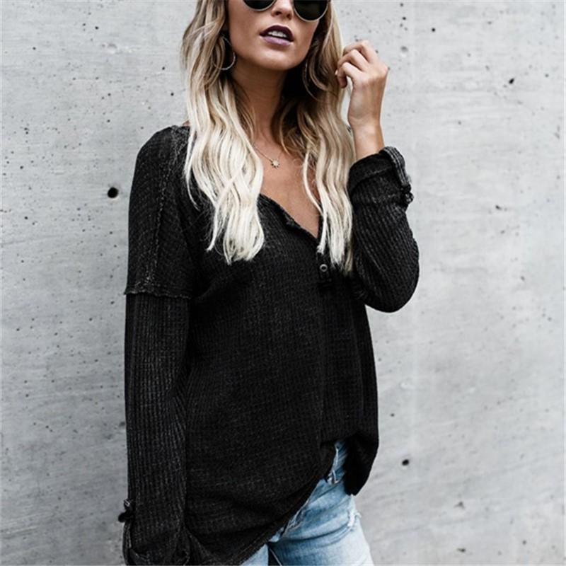 Pure Color Sexy V-Neck Long-Sleeve Knit Top Sweater