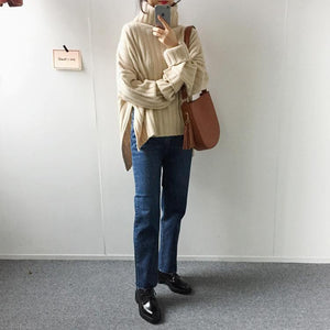 Pure Color Loose Pit   Bar With Wide Slit Turtleneck Sweater