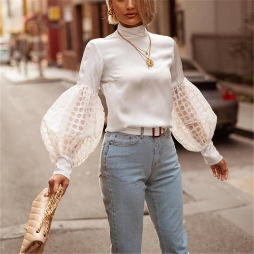 Autumn And Winter   Fashion Pure Color Lace Bubble Sleeves Jacket