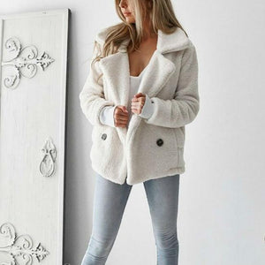 Solid Color Lambskin Jacket Short Loose Coat