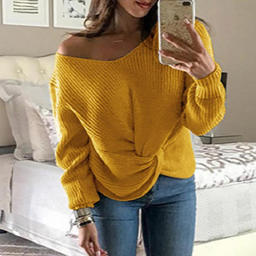 Casual Pure Colour Long Sleeve V Neck Sweater