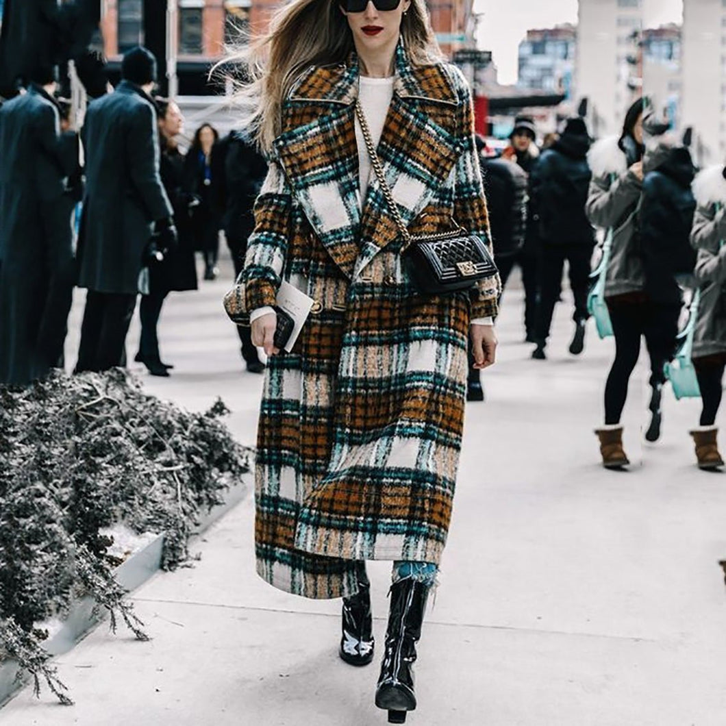 Chic Lapel Collar Check Woolen Long Coat