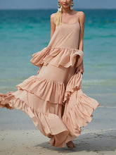 Fashion Off-Shoulder Multilevel Pure Colour Maxi Dresses