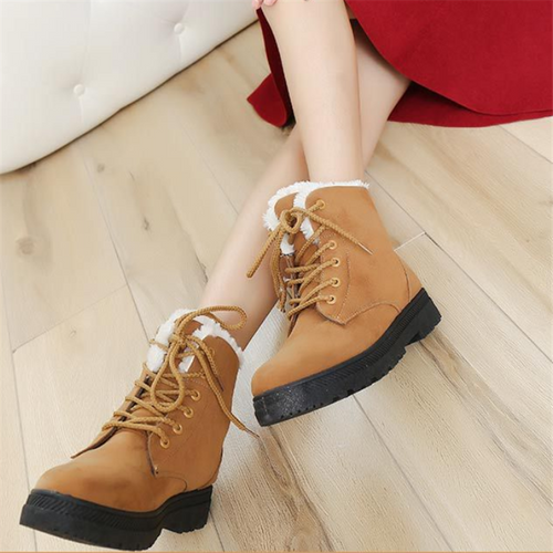 Fashion Pure Colour Flat Heeled Martin Boots