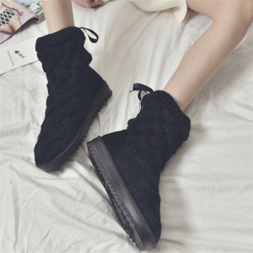 Rubber Knitted Wool Cotton Boots