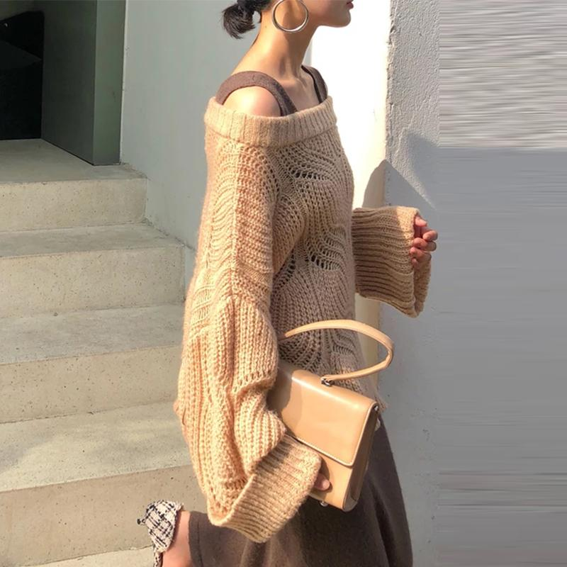Off-Shoulder Fashion Long Sleeve Pure Colour Sweater