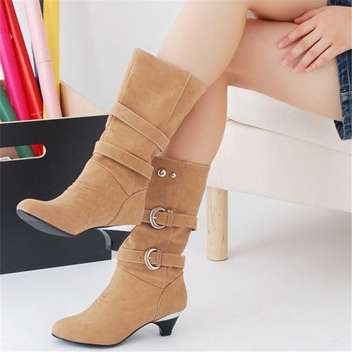 Fashion Pure Color Middle Heeled Boots