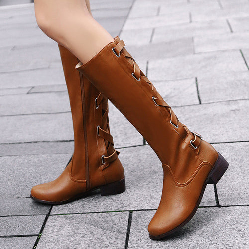 Fashion Pure Color High Cylinder Low Heeled Boots
