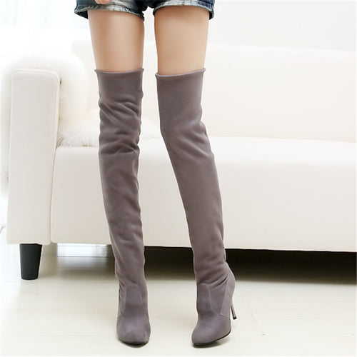 Fashion Pure Color Suede High Cylinder High Heeled Over The Knee  Boots