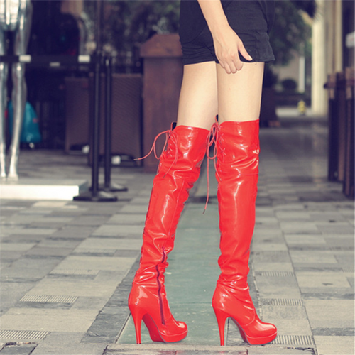 Fashion Pure Color High Cylinder High Heeled Over The Knee Boots