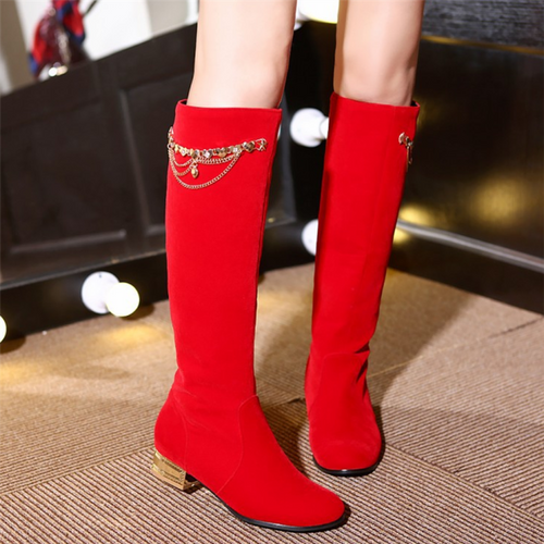 Fashion Pure Color Middle Cylinder Middle Heeled Boots