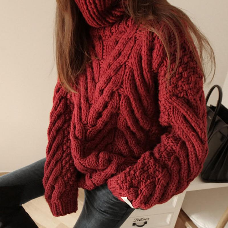 Casual High Collar Pure Colour Thickening Knitwear
