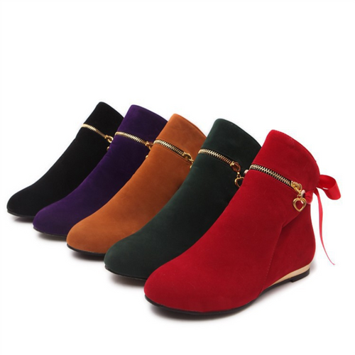 Pure Color Frenulum Flat Bottom Boots
