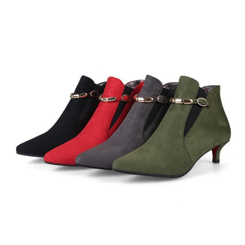 Pure Color Low Heel Fine Heel Low Barrel Boots