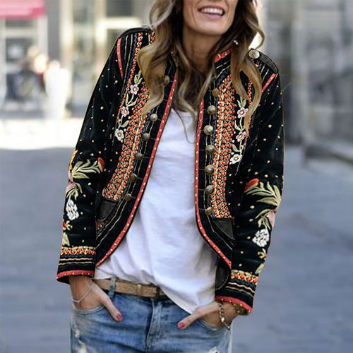 Long Sleeve Floral Embroidery Blazer Outerwear