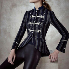 Fashion Striped   Inwrought Long Sleeve Coat