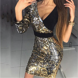 Fashion Deep V Sequined Dresses