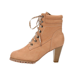 Thick heeled high heel boots