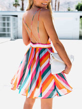Fashion Coloured Striped Bare Back Suspender Dress