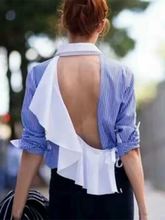 Fashion Bare Back Ruffled Striped Long Sleeve Shirt