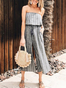 Sexy Wrap Chest Striped Sleeveless Jumpsuits