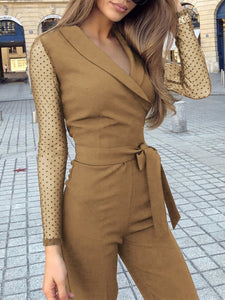 Fashion Turndown Collar Long Sleeve Jumpsuits