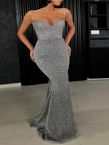 Sexy Sequins V Neck Fishtail Evening Dress