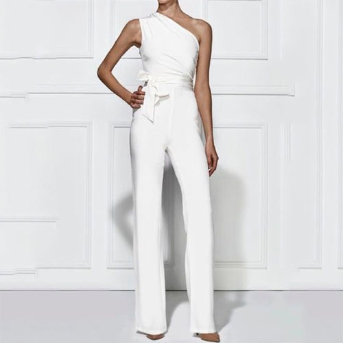 Fashion Sloping Shoulder Sleeveless Pure Colour Jumpsuits